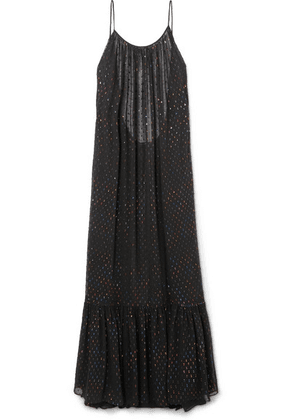 Caroline Constas - Lola Open-back Metallic Fil Coupé Chiffon Maxi Dress - Black