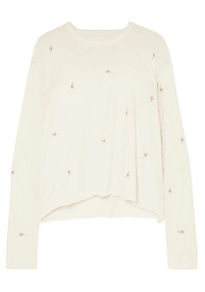 The Great - Embroidered Cotton-jersey Sweatshirt - White