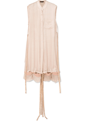 Ann Demeulemeester - Distressed Cotton Voile-trimmed Satin Shirt - Pink