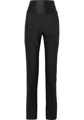 TOM FORD - Satin-paneled Wool And Silk-blend Straight-leg Pants - Black