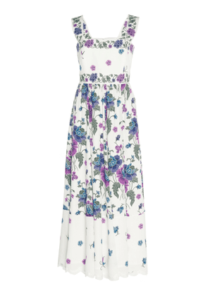 Andrew Gn Lace-Trimmed Floral-Print Silk Midi Dress