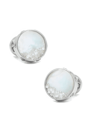Mother of Pearl Cuff Links with Floating Crystals