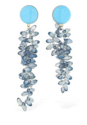 Aster Earrings W/ Blue Crystals