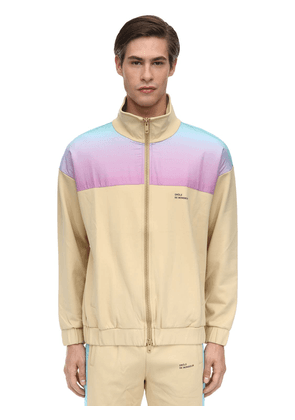 Shaded Satin & Nylon Zip-up Track Jacket