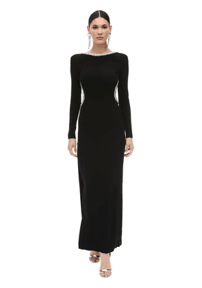 Embellished Long Viscose Cady Dress