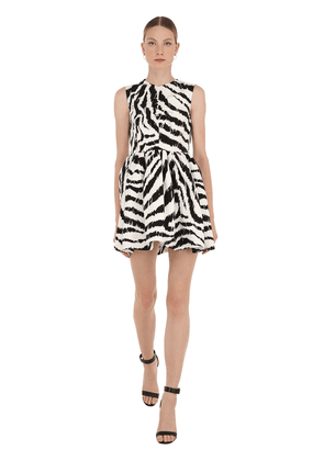 Zebra Print Cotton Blend Mini Dress