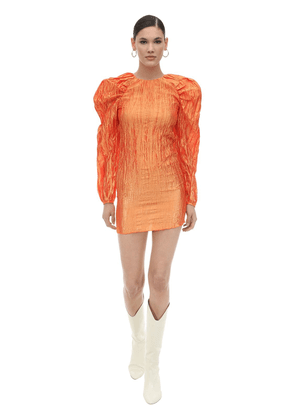 Ruffled Mini Dress W/balloon Sleeves