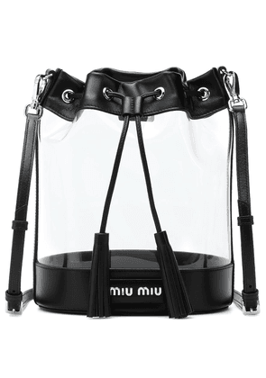 Leather-trimmed PVC bucket bag