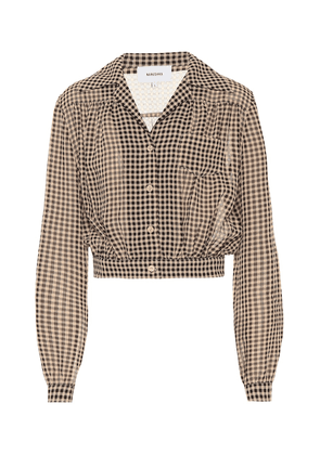 Tahnee checked cropped blouse