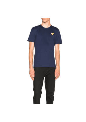 Comme Des Garcons PLAY Gold Emblem Tee in Blue