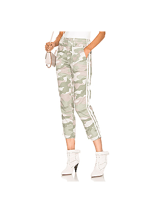 MOTHER Shaker Chop Crop Fray in Camo,Green