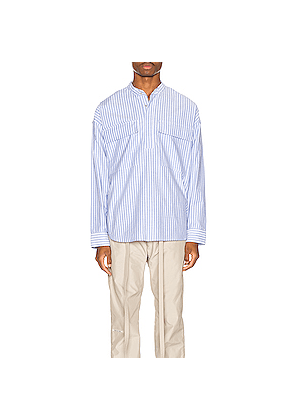 Fear of God Pullover Henley in Blue,Stripes,White