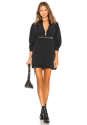 DANIELLE GUIZIO Windbreaker Hoodie Dress in Black. Size S.