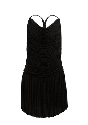 Atlein - Ruched Plissé Mini Dress - Womens - Black