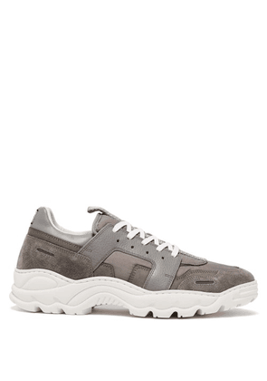 Ami - Running Lucky 9 Suede And Mesh Trainers - Mens - Grey