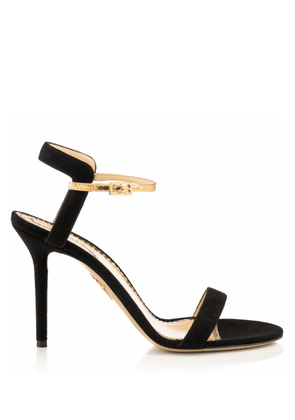 Charlotte Olympia Sale Women - QUINTESSENTIAL BLACK AND GOLD Suede/Metallic Calfskin 35
