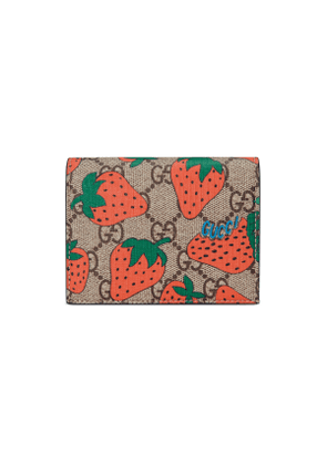 GG card case with Gucci Strawberry print