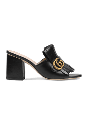 Leather mid-heel slide with Double G