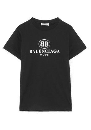 Balenciaga - Printed Cotton-jersey T-shirt - Black