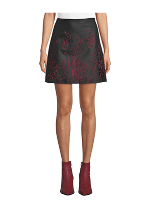 Broidie Floral Faux-Leather Short Skirt
