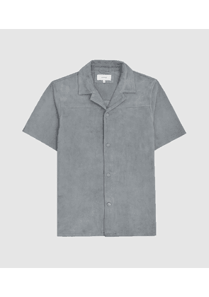 Reiss Bruno - Suede Short Sleeved Shirt in Grey, Mens, Size XS