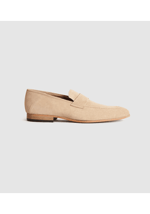 Reiss Thistle - Suede Loafers in Sand, Mens, Size 7