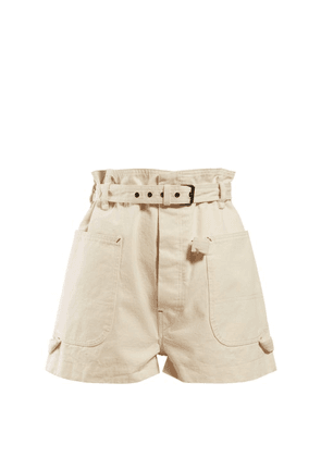 Isabel Marant - Ike Paperbag Waist Cotton Shorts - Womens - Ivory