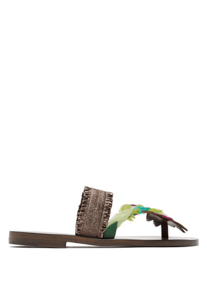 Álvaro - Alberta Feather Embellished Sandals - Womens - Brown Multi