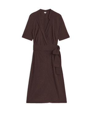 Jersey Wrap Dress - Brown