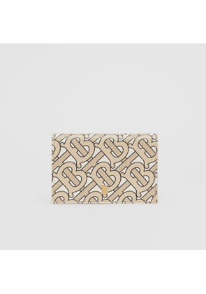 Burberry Small Monogram Print Leather Folding Wallet, Beige