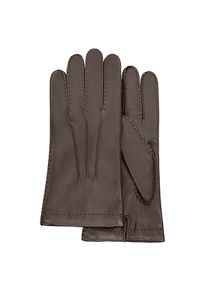 Men's Cashmere Lined Dark Brown Italian Leather Gloves