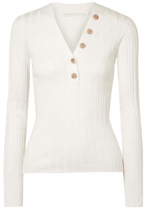 Veronica Beard - Beaumont Ribbed Cotton Sweater - White