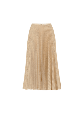 Pleated wool and mohair midi skirt