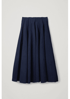 PLEATED DENIM A-LINE SKIRT