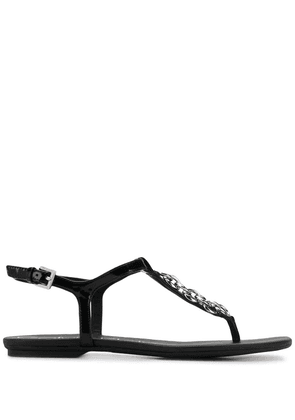 Calvin Klein chain embellished thong sandals - Black