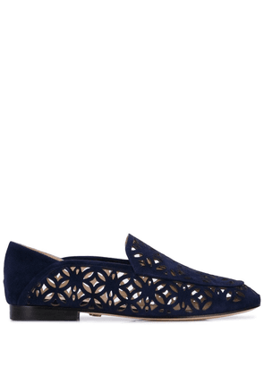 Lola Cruz embroidered loafers - Blue