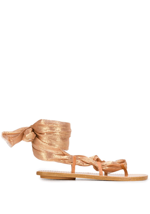 Forte Forte wrap tie flat sandals - Gold