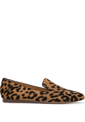 Veronica Beard Griffin leopard print loafers - Brown