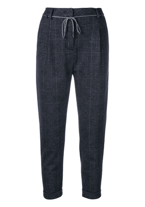 Eleventy cropped check trousers - Blue