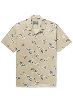 Gitman Vintage - Camp-collar Printed Cotton-blend Shirt - Cream