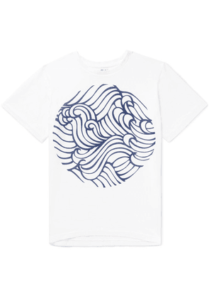 Blue Blue Japan - Printed Cotton-jersey T-shirt - White