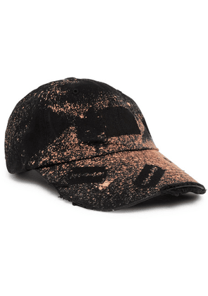 99%IS- - Distressed Spray-painted Cotton-twill Baseball Cap - Black