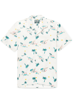 Gitman Vintage - Camp-collar Printed Cotton-blend Shirt - White