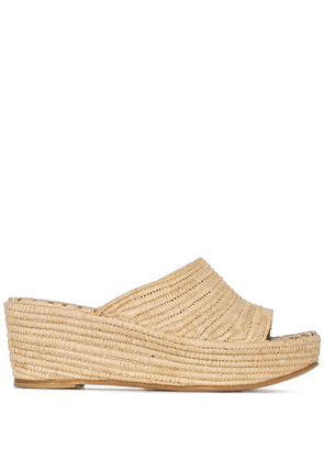 Carrie Forbes Karim 20 raffia wedge sandals - Neutrals