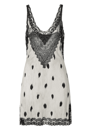 Burberry Lace Panel Animal Print Slip Dress - Neutrals