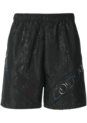 Cottweiler logo panelled swimming shorts - Black