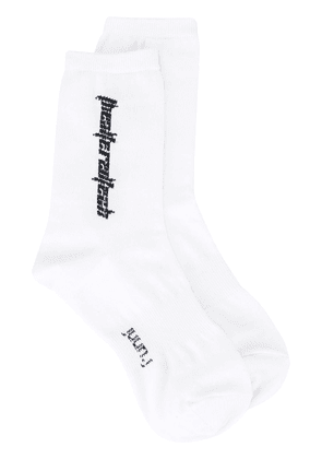 Juun.J slogan knit socks - White