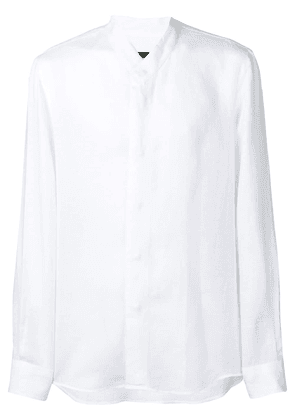 Giorgio Armani collarless button-up shirt - White