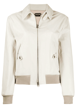 Tom Ford leather bomber jacket - Neutrals