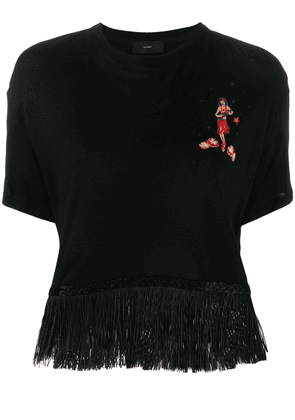Alanui Hawaiian girl fringed T-shirt - Black